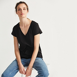 Soft Cotton V-Neck T-shirt  - Black