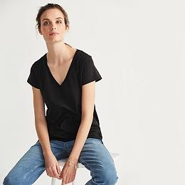 Soft Cotton V Neck T-shirt  - Black
