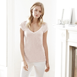 Slub Cotton V-Neck T-Shirt - Ash Rose