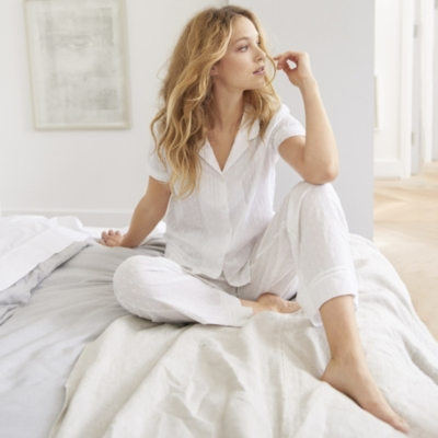 Cotton Striped Dobby Pajama Bottoms