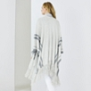 Stripe Border Fringed Wrap Cardigan