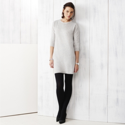 Sequin Drop Shoulder Dress - Pale Gray Marl
