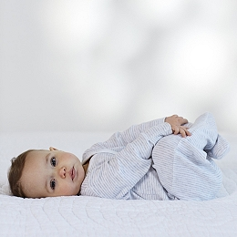 Tiny Stripe Embroidered Sleepsuit