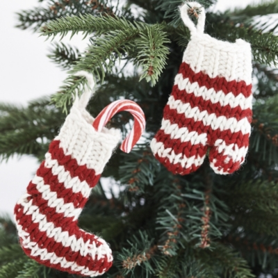 Knitted Striped Stocking Decoration