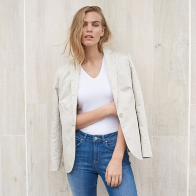 Linen Blend Soft Tailored Blazer