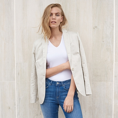 Linen Blend Soft Tailored Blazer | Coats & Jackets | Clothing ...
