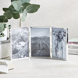 Triple Aperture Hinged Fine Silver Photo Frame 4x6""
