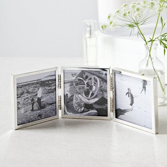 fine silver triple aperture hinged photo frame 3x3 photo frames