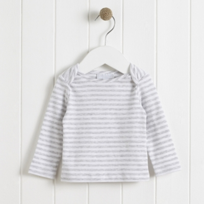 Stripe Envelope Neck T-Shirt - GrayMarlWhite
