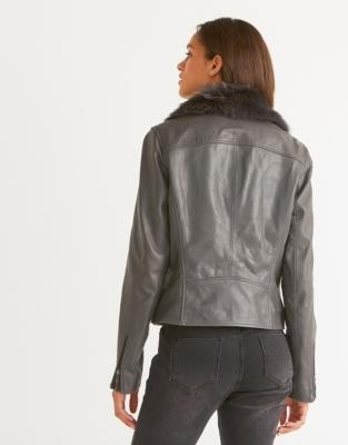 Sheepskin & Leather Biker Jacket