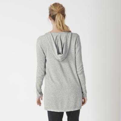 Hooded Swing Cardigan - Pale Gray Marl