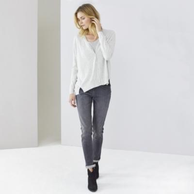 Split Hem Cardigan - Pale Gray Marl