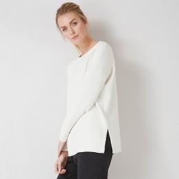 Stepped Hem Knitted Sweatshirt