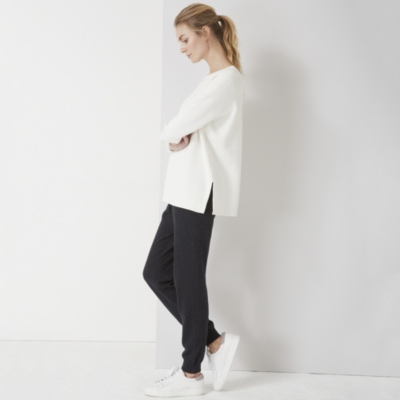 Stepped Hem Knitted Sweatshirt