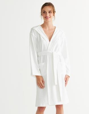 Short Lightweight Velour Robe - White