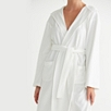 Short Lightweight Velour Robe - White