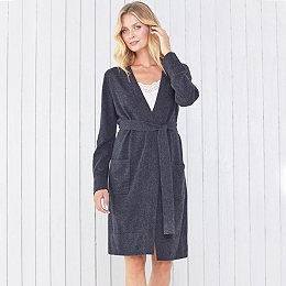 Cashmere Short Robe - Dark Charcoal Marl