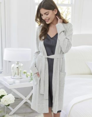 Cashmere Short Robe - Silver Grey Marl