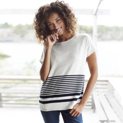 Striped Hem Short Sleeve Sweater