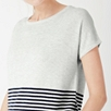 Striped Hem Short Sleeve Sweater
