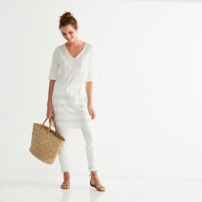 Linen Striped Hem Tunic