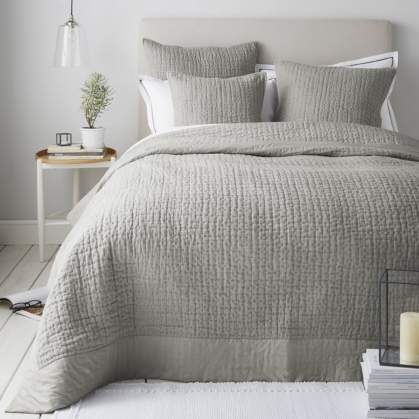 monmouth stripe bed linen collection  bedroom  sale  the white  -  shoreditch quilt  cushion covers  grey