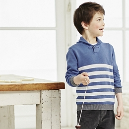 Shawl Neck Striped Sweater