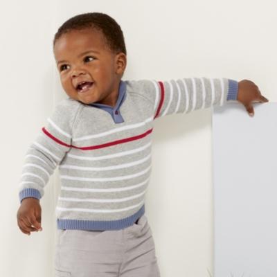 Shawl Neck Stripe Sweater