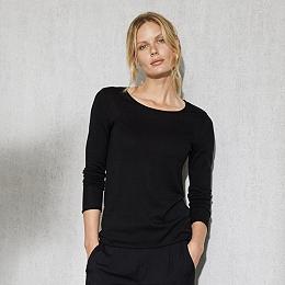 Silk-Cotton Layering Jumper - Black