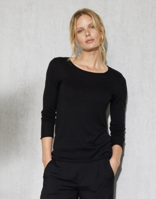 Silk-Cotton Layering Jumper - Black
