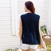 Silk Blouse with Pocket - Navy