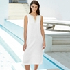 Metallic Trim Linen Dress