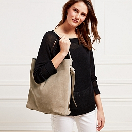 Suede Knot Side Shopper Bag