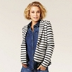 Stripe Knitted Blazer - Silver Gray Marl