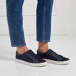 Lace Up Sparkle Panel Trainers