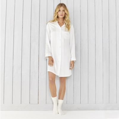 Piped Silk Nightshirt