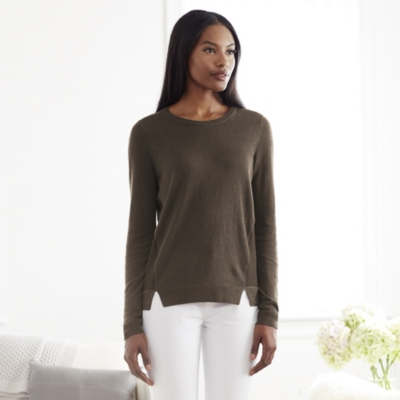 Silk Panel Sweater - Khaki
