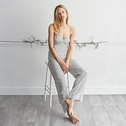 Lace Trim Cami & Pull On Pyjama Set