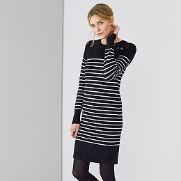 Button Shoulder Stripe Knitted Dress