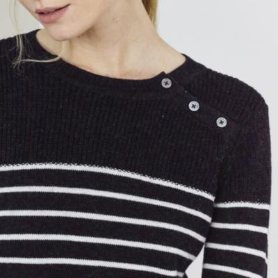 Button Shoulder Stripe Knitted Dress