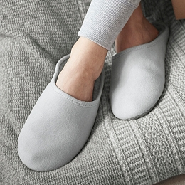 Faux Fur-lined Grosgrain Slippers  - Silver Gray