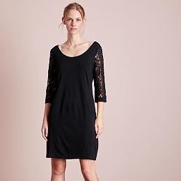 Lace Sleeve Dress - Black