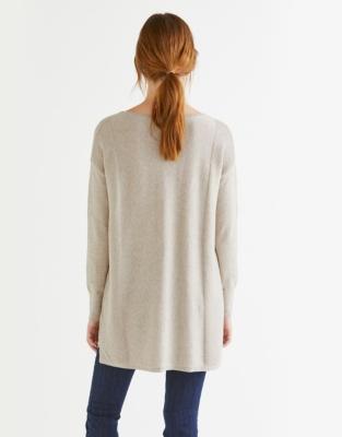 Slash Neck Side Panel sweater - Taupe Marl