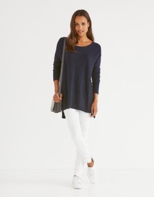 Slash Neck Side Panel sweater - Navy