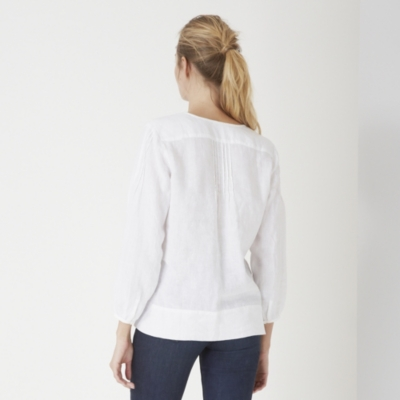 Linen Three Quarter Sleeve Blouse