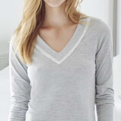 Stripe Lace Trim PJ Top
