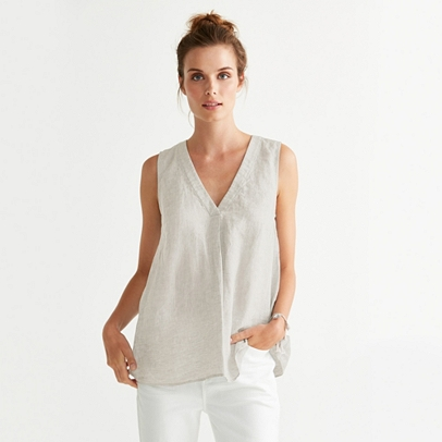 Linen Sleeveless Top Tops Amp T Shirts The White Company Uk