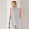 Short Sleeve Stripe Lace Trim PJ Top