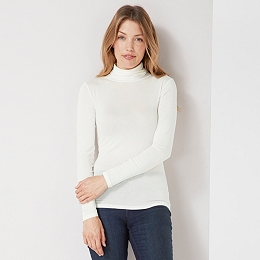 Jersey Roll Neck Top - Ivory