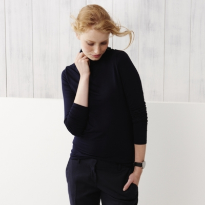 Jersey Roll Neck Top - Navy